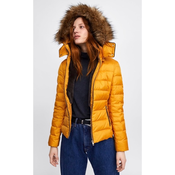 Zara Quilted Water Resistant Quilted Parka Jacket Coat With Fur Hood Mustard S M